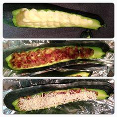 Stuffed zucchini ... loaded mashed potatoes