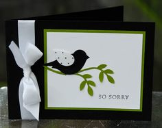 A simple sympathy card that was made using Basic black, Old Olive and Whisper White card stock and the lovely bird punch. Sentiment came from the ever so useful Basic Phrases.