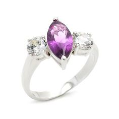 Silver Three-stone Ring with Clear & Amethyst Zirconia Stones, VORI03-01666
