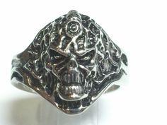 Until Death, Inc. Alien Demon Skull Ring. 925 Solid Sterling Silver Ring. All Men's US Sizes. Custom Made to Order In USA.-UDINC0032