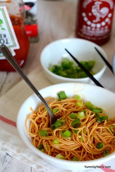 SIMPLE SRIRACHA NOODLES WInter and spice - Spells comfort to me! A hearty meal in just 15 min!
