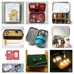 DIY Roundup of 13 Altoids Tin Craft Tutorials. Altoids Tin Clock from Design Sponge. Altoids Tin Tiny Vampire Hunter Kit from craftster. Mem...