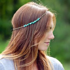 Boho Luna Headdress -  An antiqued brass head chain adorned with turquoise amazonite chip stone beads and fringe detail. It's earthy, bohemian, and quintessentially feminine, all at the same time.