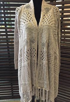 2 Chic Luxe Natural Cardigan with Fringe (One Size): $94.95