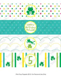 Printable Frog Birthday Water Bottle Wrappers by PinkPosyPaperie, $4.00
