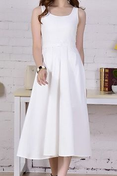 $22.65 Simple Scoop Neck Sleeveless Solid Color Spliced Dress For Women