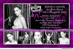 Photo Collage Masquerade Party Invitation - Sweet 16 Birthday Ball