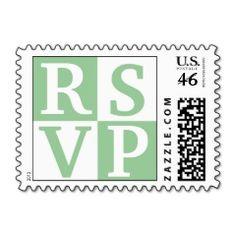 Sage White Block Lettering RSVP Wedding Stamps   Wedding Postage Stamps