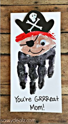 "Handprint Pirate Craft for Kids - Great for a Mother's Day Card! ""You're GRRReat, Mom!"" Or #fathersdaycard"