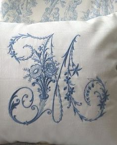 Hand embroidered boudoir pillow from Chantilly Dreams. How beautiful!! And with my first initial!!