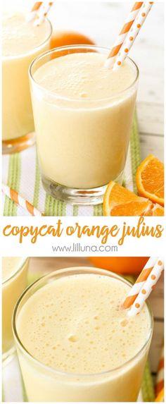 Copycat Orange Julius recipe - takes just a minute to make and is a favorite family treat!  Recipe on { lilluna.com } Orange Juice Concentrate, Orange Julius, Lil Luna, Orange Recipes, Refreshing Drinks, Copycat, Smoothies, Smoothie, Fruit Shakes