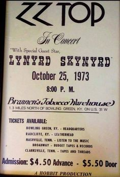would have loved to been there! Rock N Roll Music, Rock And Roll, Rock Band Posters, Vintage Concert Posters, Zz Top, Blues, Pop Rock, Lynyrd Skynyrd, Rock Concert