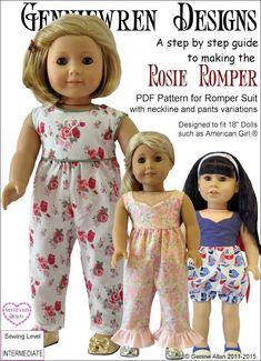 Pixie Faire Genniewren Designs Rosie Romper Doll Clothes Pattern for 18 inch American Girl Dolls - PDF by PixieFairePatterns on Etsy https://www.etsy.com/listing/238135308/pixie-faire-genniewren-designs-rosie