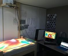 New Augmented Reality Sandbox helps students better understand topography and water flow. Augmented Reality Sandbox | Photo by Shadi Ramos