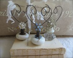 Petite Michelle Louise with #vintage #doorknob  memo/photo holders. ~Did 2 of these in December,2013 with porcelain knobs one was a heart the other was just loops to hold business cards.