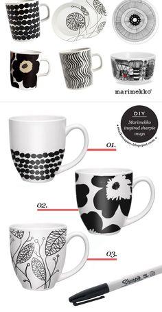 DIY: Marimekko inspired sharpie mugs via Maiko Nagao blog