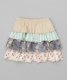 Look what I found on #zulily! Gray Butterfly Forest Ruffle Skirt - Infant, Toddler & Girls by Sado #zulilyfinds