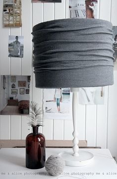 Cardigan lampshade! SUCH a great idea!