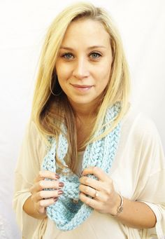 Glacier CIRCLE SCARF  Ice Blue Stretchy Single or by theyarnival, $27.00
