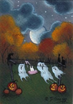 Ghosts On The Line a tiny Halloween Ghost Moon aceo sized Print By Deborah Gregg Halloween Artwork, Halloween Prints, Halloween Pictures, Halloween Ghosts, Holidays Halloween, Vintage Halloween, Happy Halloween, Halloween Decorations, Halloween Costumes