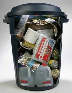 Are you prepared for a real disaster? Heres a plan.  For your survival kit, use a portable container such as a large, covered trash receptacle.  If you store your liquids at the bottom of your cont?