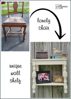 How to make a chair wall shelf out of a pretty chair that is flying solo. A few cuts and some paint, a few hours and you have a unique new shelf. MyRepurposedLife.com