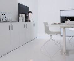 Radon Table in a cool black and white office http://www.lightyears.dk/lamps/table-lamps/radon-black.aspx?utm_source=Social&utm_medium=Pinterest&utm_campaign=Pinterest