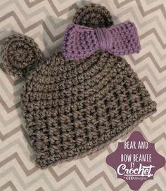 Crochet Bear Newborn Beanie With Bow By Charlotte Elizabeth - Free Crochet Pattern - (crochetbyceddesigns) All Free Crochet, Crochet Bear, Crochet Baby Booties, Love Crochet, Crochet For Kids, Crochet Dolls, Newborn Crochet, Crochet Beanie Pattern, Crochet Patterns