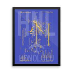 HNL Honolulu Airport Diagram Framed Poster