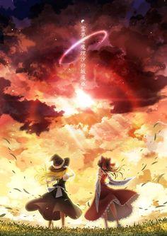 Marisa and Reimu. Touhou Anime, Manga Anime, Landscape Illustration, Illustration Art, Anime Witch, Sad Art, Anime Fantasy, Anime Scenery, Manga Pictures