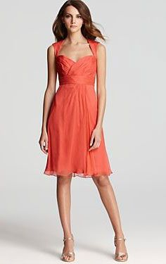 Cool Style Halter Chiffon Ruched Short Coral Bridesmaid Dresses ...