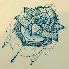 "Katie Shocrylas on Instagram: ""another pretty little #lotus. #lace #linework"""