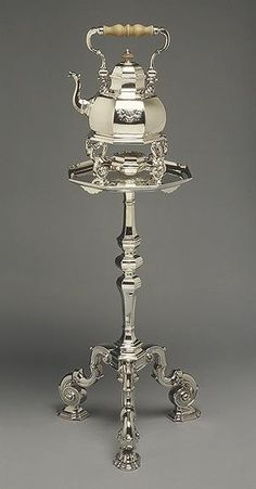 Silver Tea Kettle on Tripod Table-Stand Simon Pantin I (English, Rouen ca. London) Date: Culture: English (London) Medium: Silver, wood Bronze, Vintage Silver, Antique Silver, Teapots And Cups, Tea Time, Tea Party, Tea Cups, Beautiful, 18th Century