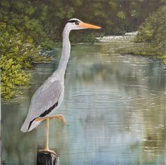 """A grey heron patiently watches the silver water from his 'Perfect Perch.' This is a 12x12"""" square original oil painting by UK artist Ellisa Hague. Price includes VAT and standard UK P&P. Please visit www.EllisaHagueOriginal.com for more information."""