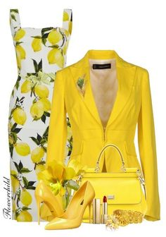 A fashion look from April 2016 featuring dolce gabbana dress, yellow blazers and yellow pumps. Pastel Colors, Light Colors, Polyvore Outfits, Dsquared2, Blazer, Fashion Outfits, Couture, Yellow Outfits, Style Ideas