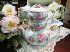 Lefton China Hand Painted tea sets | Lefton China Hand Painted Stacking Teapot Tea for One Sugar Teapot ...