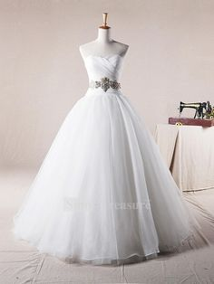 White Sweetheart Summer Organza Ball Gown Wedding Dress -Wedding & Events-Wedding Dresses-Ball Gown Wedding Dresses