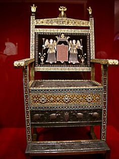 "The ""Diamond"" throne of Tsar Alexis Mikhailovich was brought from Persia in 1659 and presented to the Tsar by Armenian merchants. Among the hundreds of precious stones and pearls are 870 diamonds. The blue colour is from Persian turquoise. The gems are mounted on silver and gold plates."