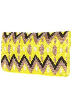 fav color combo & print in a beaded clutch <3