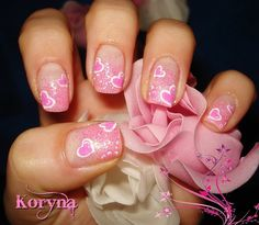Pink & white free hand painted pink hearts on French manicure pink glitter tips Valentines Day Holiday Nail art