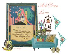 """""""Art Deco Love"""" by plumsandhoneyvintage ❤ liked on Polyvore featuring interior, interiors, interior design, home, home decor, interior decorating, Meyda and vintage"""