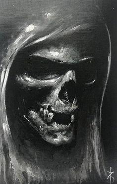 Tu oder stirb - Skull Tattoo - Garden Planting - Home DIY Cheap - Blonde Hair Styles - DIY Jewelry Vintage Evil Skull Tattoo, Skull Sleeve Tattoos, Skull Tattoo Design, Skull Design, Grim Reaper Art, Grim Reaper Tattoo, Death Reaper, Skull Artwork, Skull Painting