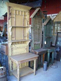 ((screaming)) dream come true! old screen doors with wainscotting, shutters & old tables!