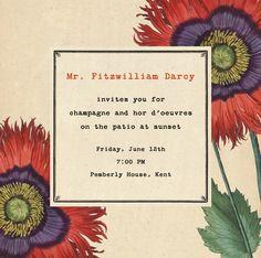 """Derian Poppies - Square"" Invitation, by John Derian, Paperless Post"