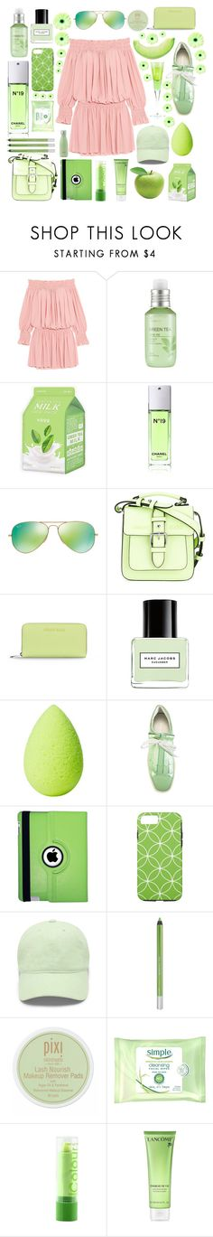"""Pastels"" by purplepompom ❤ liked on Polyvore featuring Norma Kamali, The Face Shop, Charlotte Russe, Chanel, Ray-Ban, Armani Jeans, Marc Jacobs, beautyblender, Paloma Barceló and Natico"
