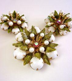 ALICE CAVINESS Floral Milk Glass Enamel Brooch Earrings Set Glass Pearls Pink AB Vintage #jewelry
