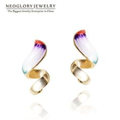 Neoglory Gold Plated Enamel Drop Earrings Teen Girl Statement Indian Jewelry Love Birthday Gifts 2016 New Fashion Brand ENA1