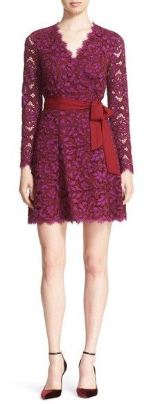 Diane Von Furstenberg 'Shaelyn' Lace Wrap Dress Was $498 Now $199.98 Made from vibrant guipure lace, this romantic dress is cut with a flattering wrap silhouette. A coordinating belt finishes the look with effortless charm. Color(s): purple amethyst/ red onyx. Style Number: 5229250_1. Available in stores. https://api.shopstyle.com/action/apiVisitRetailer?id=614523065&pid=uid841-37799971-81