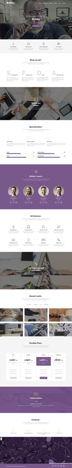 "'Bobby' is a One Page HTML template suited for a long scrolling online portfolio. The responsive template features quite a slick contact form overlay when you click the ""get in touch"" button. Other features include parallax scrolling, skills graph, team, portfolio with category sort and lightbox pop up, pricing table, testimonial slider and big Google Maps footer. Nice touch with the navigation highlighting the current section you on."