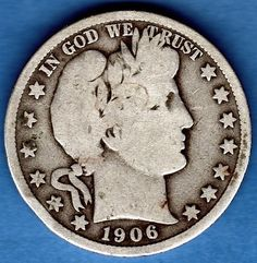 1906 Barber Silver Half Dollar US Coin. It could still be found in circulation into the 1960s.